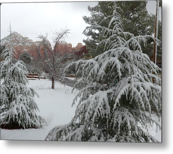 Snowy Sedona Red Rocks Metal Print
