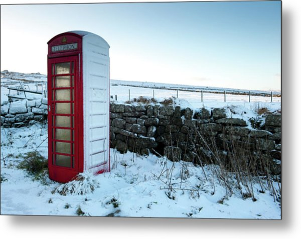 Snowy Telephone Box Metal Print