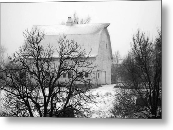 Snowy White Barn Metal Print