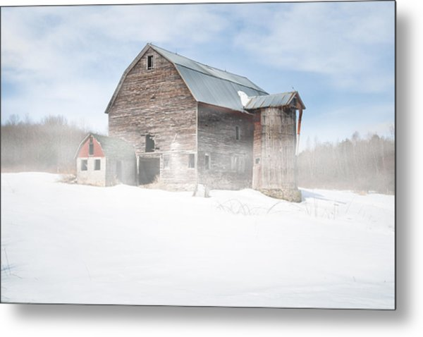 Snowy Winter Barn Metal Print