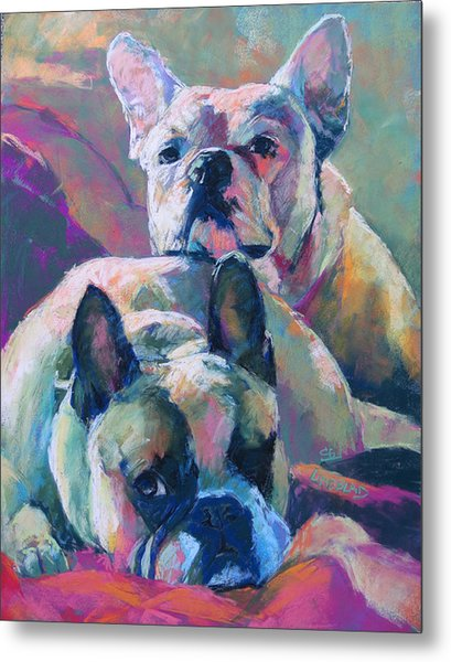 Snuggle Buds, English Bulldogs Metal Print