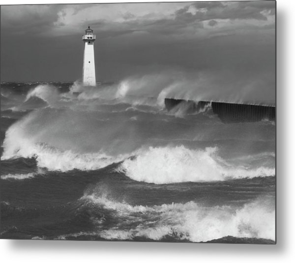 Sodus Point Light During The Storm Metal Print