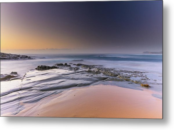 Soft And Rocky Sunrise Seascape Metal Print