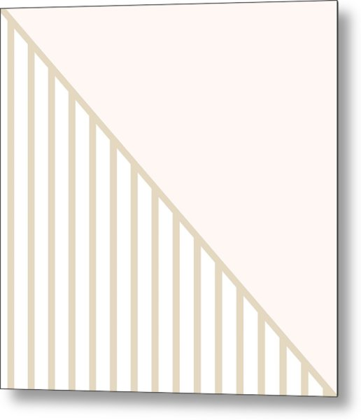 Soft Blush And Champagne Stripe Triangles Metal Print