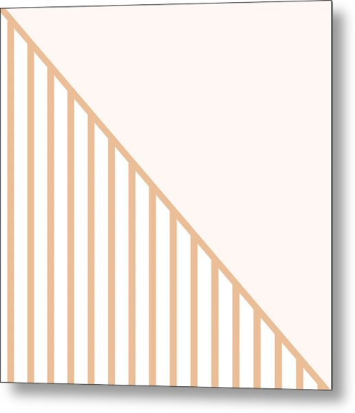 Soft Blush And Coral Stripe Triangles Metal Print