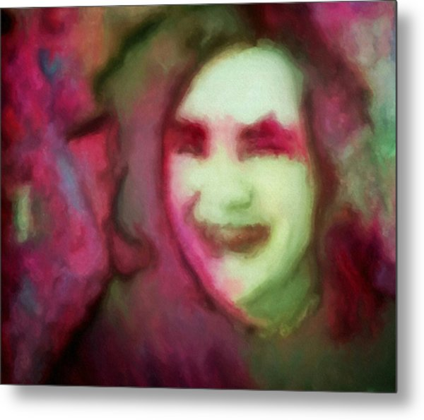 Soft Female Portrait Painting Of A Girl Eve In Pink Green Red And Brown From Girl In Final Fantasy Four Video Games Concept Art Metal Print by MendyZ