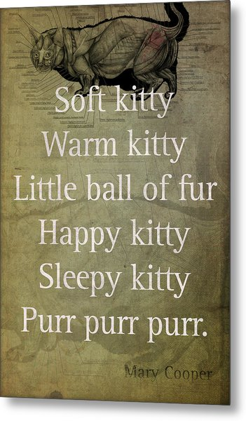 Soft Kitty Warm Kitty Poem Quotation Big Bang Theory Inspired Sheldon Cooper Mother On Worn Canvas Metal Print