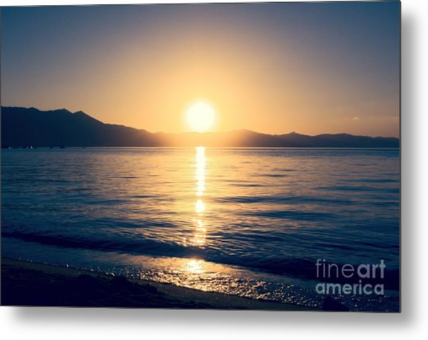 Soft Sunset Lake Metal Print