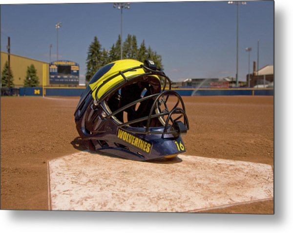 Softball Catcher Helmet Metal Print