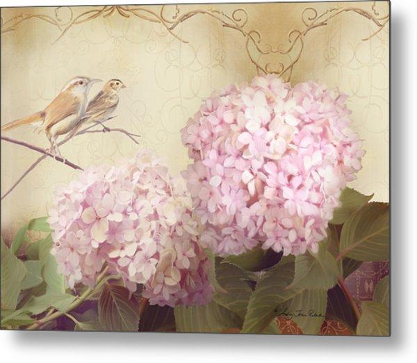 Softly Summer - Carolina Wrens W Blush Pink Hydrangeas Metal Print