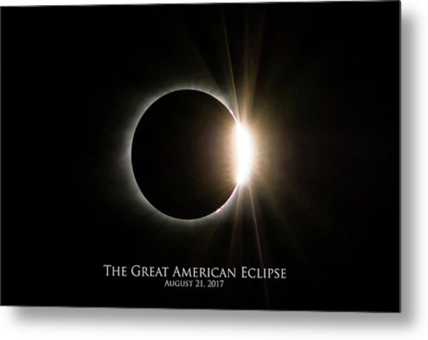 Metal Print featuring the photograph Solar Eclipse Diamond Ring With Text by Lori Coleman