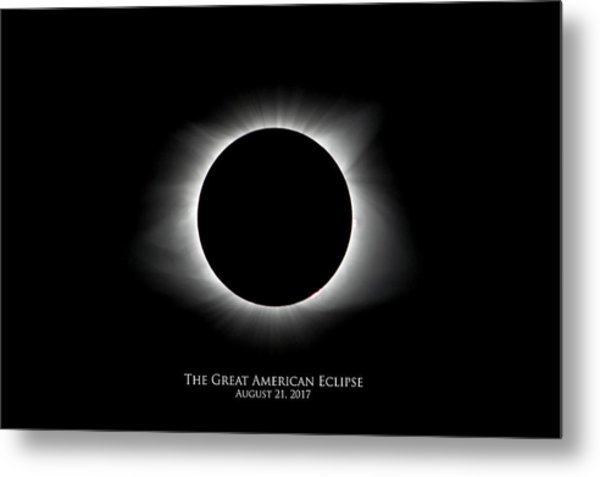 Metal Print featuring the photograph Solar Eclipse Ring Of Fire With Text by Lori Coleman