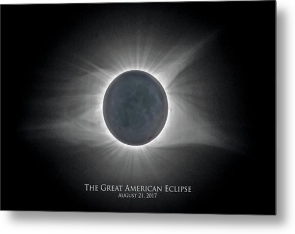 Metal Print featuring the photograph Solar Eclipse With Moon Detail And Text by Lori Coleman