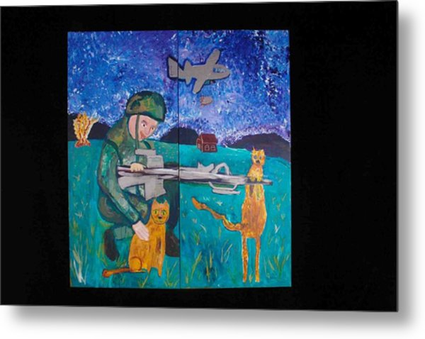 Soldier And Two Cats Metal Print
