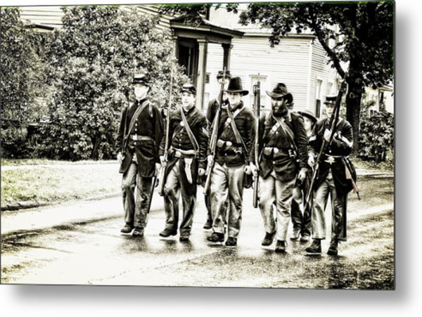 Soldiers Marching In Parade Metal Print