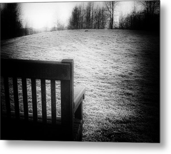 Solitary Bench In Winter Metal Print