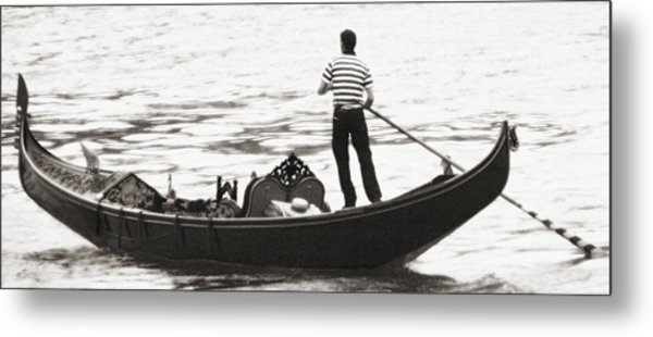 Solitary Gondolier Metal Print