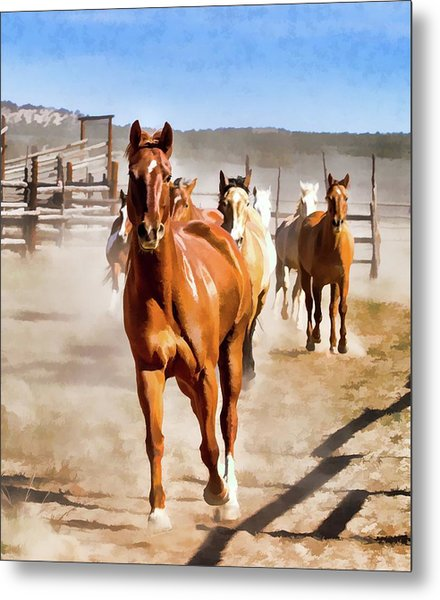 Metal Print featuring the digital art Sombrero Ranch Horse Drive, Galloping Into The Dusty Corrals by Nadja Rider
