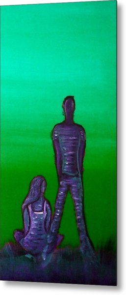 Someone To Watch Over Me-green Metal Print by Brenda Higginson