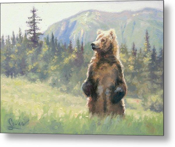 Something In The Air- Alaskan Brown Bear Metal Print by Larry Seiler