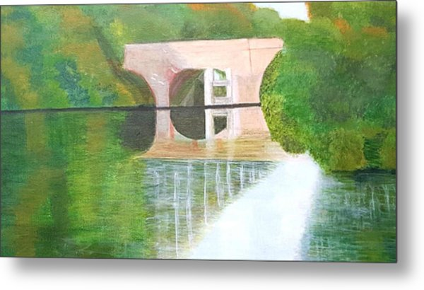 Sonning Bridge In Autumn Metal Print