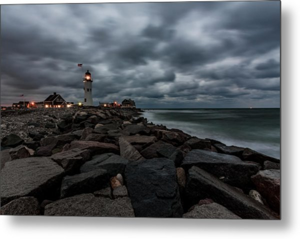 Stormy Clouds Over Old Scituate Lighthouse In The Early Morning Metal Print
