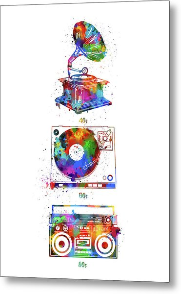Sound Evolution Watercolor Metal Print
