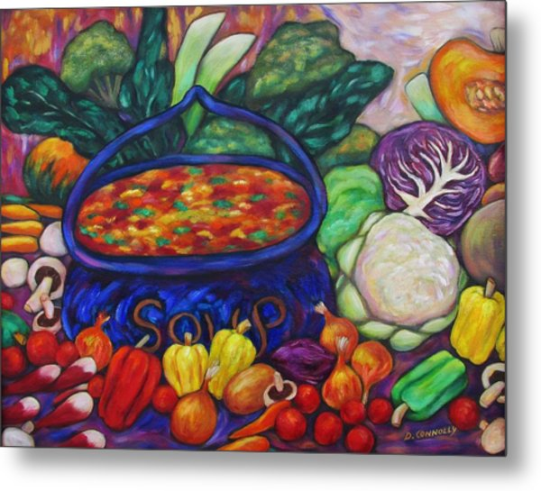 Soup In A Blue Pot Metal Print