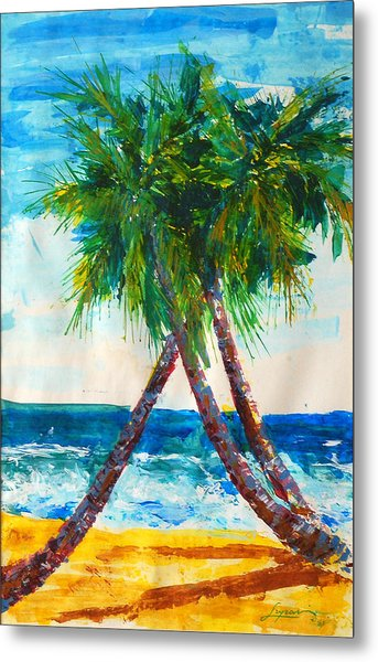 Metal Print featuring the painting South Beach Palms by Thomas Lupari