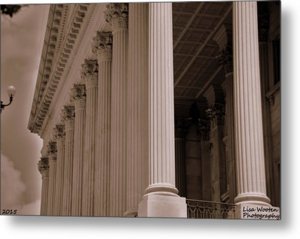 Metal Print featuring the photograph South Carolina State House Columns  by Lisa Wooten