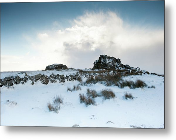 South Hessary Tor In The Snow II Metal Print