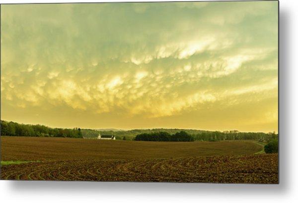Thunder Storm Over A Pennsylvania Farm Metal Print