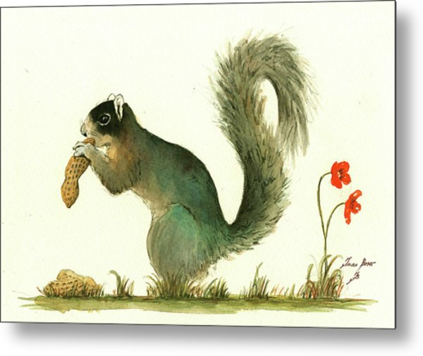 Southern Fox Squirrel Peanut Metal Print