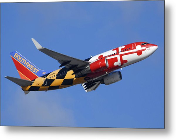 Southwest Airlines Boeing 737-7h4 N214wn Maryland One Phoenix Sky Harbor December 23 2010 Metal Print