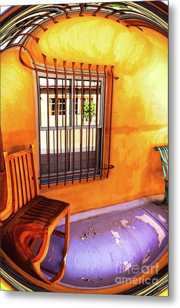 Southwestern Porch Distortion With Puple Floor Metal Print