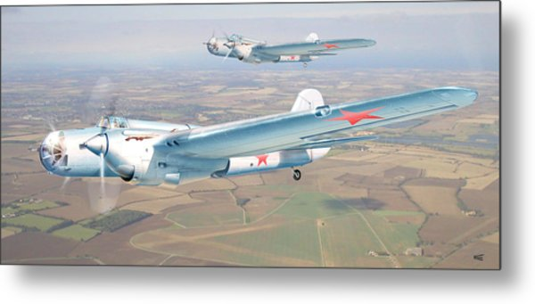 Soviet Bomber Ar-2 Of The Fortieth Years In Formation Flying Metal Print by Alex Arkhipau