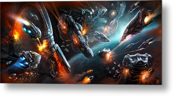 Space Battle Metal Print