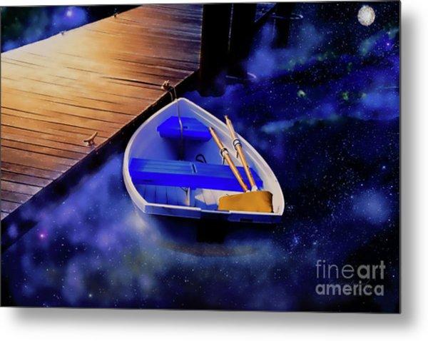Space Boat Metal Print