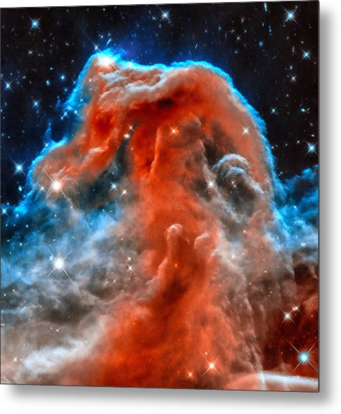 Space Image Horsehead Nebula Orange Red Blue Black Metal Print