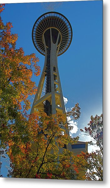 Space Needle Autumn Metal Print
