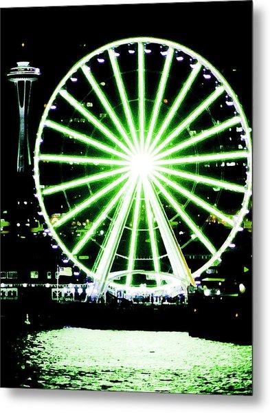 Space Needle Ferris Wheel Metal Print