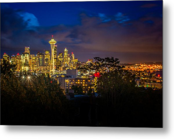 Space Needle In Seattle After Dark Metal Print