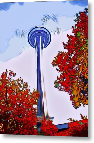 Space Needle Poster Art Metal Print by Steve Ohlsen