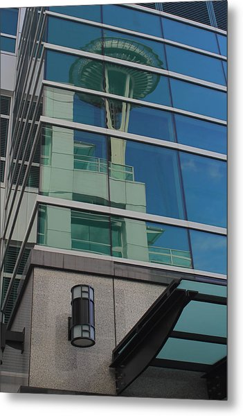 Space Needle Reflection Metal Print