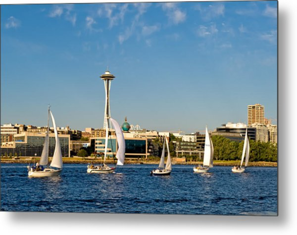 Space Needle Sailboats Metal Print by Tom Dowd