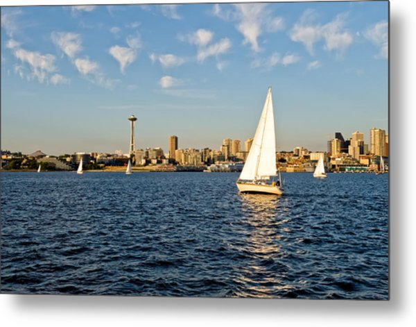 Space Needle Tack Metal Print by Tom Dowd