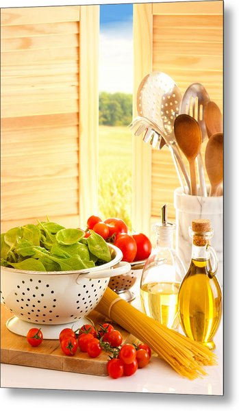 Spaghetti And Tomatoes In Country Kitchen Metal Print