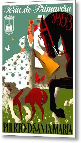 Spain 1953 Puerto De Santa Maria Spring Fair Poster Metal Print