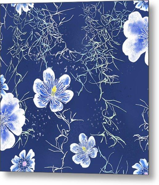 Indigo Batik Tile 4 - Spanish Moss Metal Print