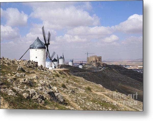 Spanish Windmills And Castle Of Consuegra Metal Print